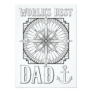 OrnaMENTALs World's Best Dad Color Your Own 14 Cm X 19 Cm Invitation Card
