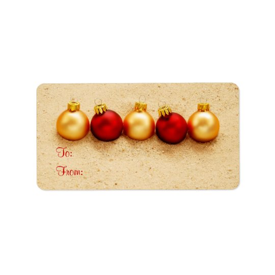 Ornaments at the Beach Gift Tag Label Address Label