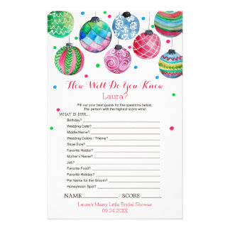 Ornaments How Well Do You Know The Bride Game Flyer