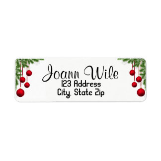 Ornaments & Pine tree Christmas Address Label