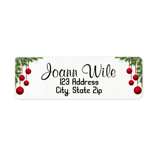 Ornaments & Pine tree Christmas Address Label