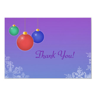 "Ornaments & Snowflakes Thank You Card 3.5"" X 5"" Invitation Card"