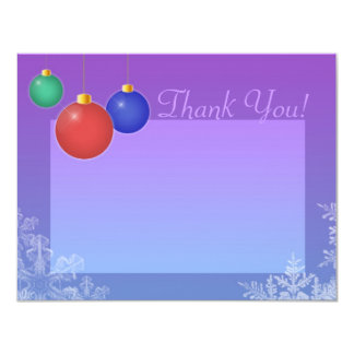 "Ornaments & Snowflakes Thank You Card 4.25"" X 5.5"" Invitation Card"
