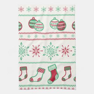 Ornaments, Stockings and Snowflakes Tea Towel