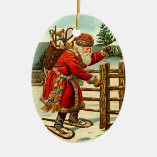 Ornaments Vintage Santa Claus Snowshoes Christmas