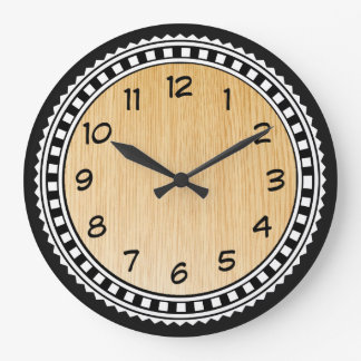 Ornaments With Wooden Background Large Clock