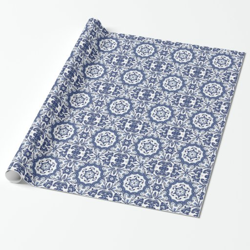 Ornate Antique Dutch Delft Blue Floral Pattern Gift Wrapping Paper