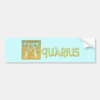 Ornate Aqua Blue and Gold Aquarius Bumper Sticker