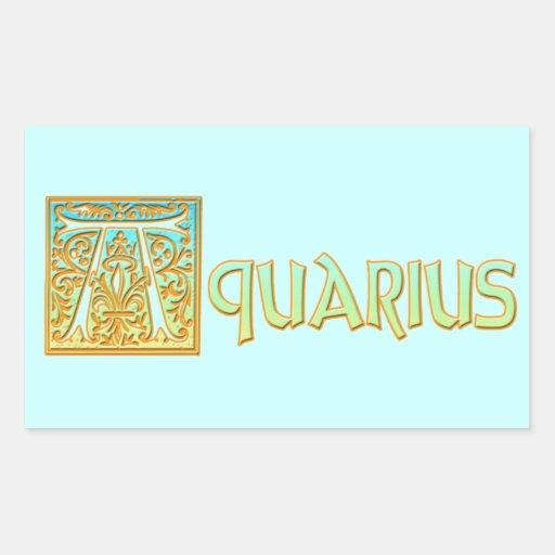 Ornate Aqua Blue and Gold Aquarius Stickers