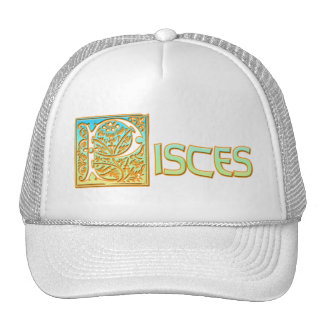 Ornate Aqua Blue and Gold Pisces Trucker Hat