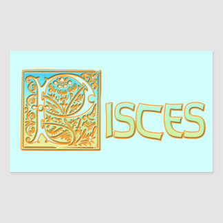Ornate Aqua Blue and Gold Pisces Rectangular Sticker