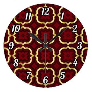 Ornate barbed quatrefoil (color adjustable) large clock