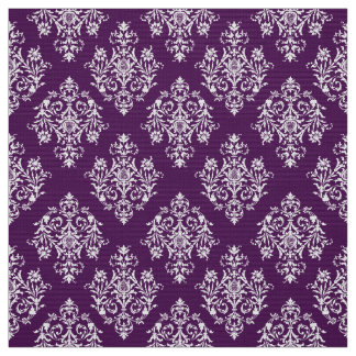 Ornate Baroque white Damask pattern fabric
