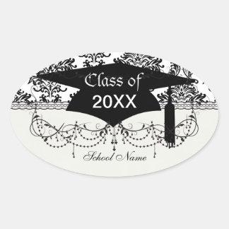 ornate black damask on white graduation oval stickers
