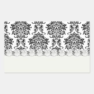 ornate black damask on white rectangle sticker
