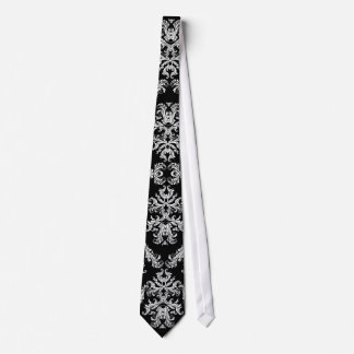Ornate Black & White Baroque Pattern Tie