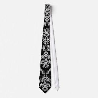 Ornate Black & White Baroque Pattern Tie