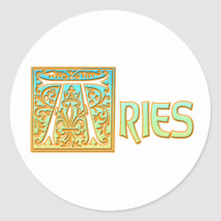 Ornate Blue and Gold Aries Classic Round Sticker