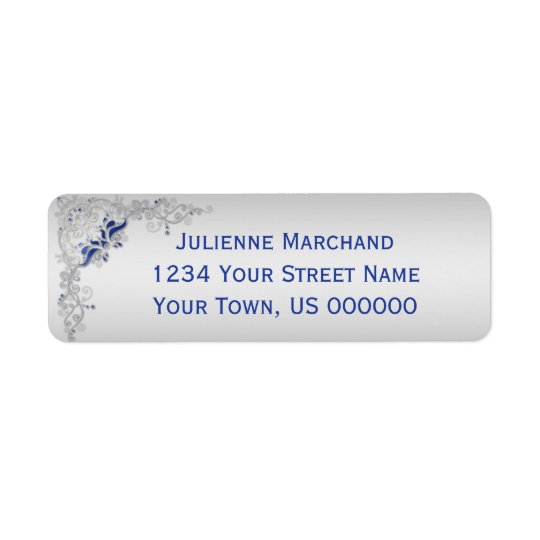 Ornate Blue and Silver Floral Address Label