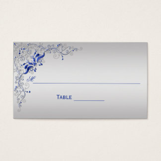 Ornate Blue and Silver Floral Swirls Place Cards