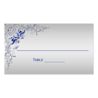 Ornate Blue and Silver Floral Swirls Place Cards Pack Of Standard Business Cards