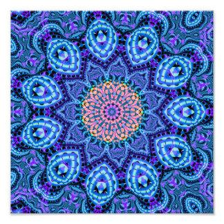 Ornate Blue Flower Vibrations Kaleidoscope Art Art Photo