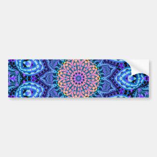 Ornate Blue Flower Vibrations Kaleidoscope Art Car Bumper Sticker