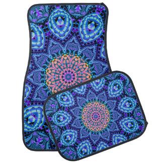 Ornate Blue Flower Vibrations Kaleidoscope Art Car Mat