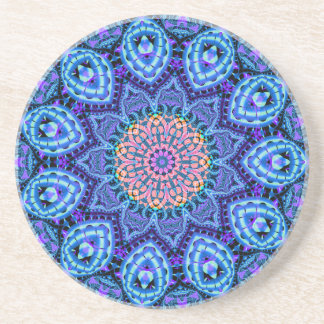 Ornate Blue Flower Vibrations Kaleidoscope Art Coaster