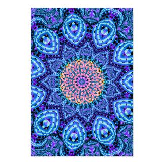 Ornate Blue Flower Vibrations Kaleidoscope Art Photograph