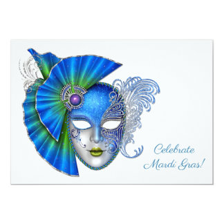 Ornate Blue Mask, Mardi Gras 13 Cm X 18 Cm Invitation Card