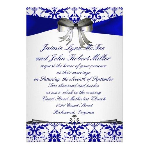 Ornate Blue Silver Damask Wedding Invitation 13 Cm X 18 Cm