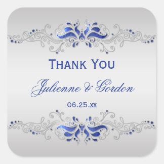 Ornate Blue Silver Swirls Square Wedding Favor Square Sticker