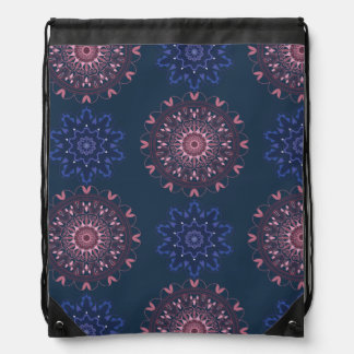 Ornate Boho Mandala Navy and Rose Drawstring Bag