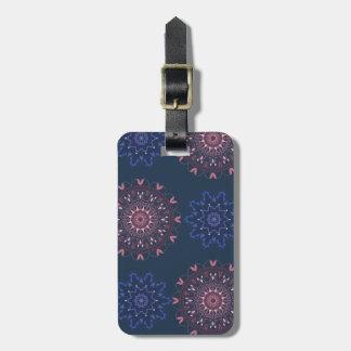 Ornate Boho Mandala Navy and Rose Luggage Tag