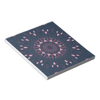 Ornate Boho Mandala Navy and Rose Notepad