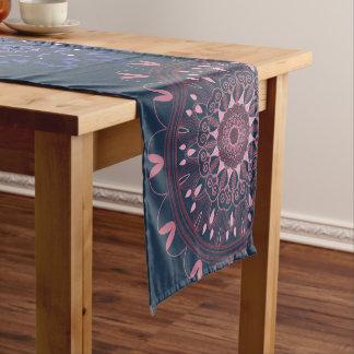 Ornate Boho Mandala Navy and Rose Short Table Runner