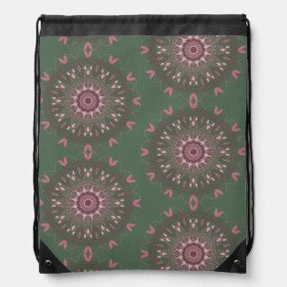 Ornate Boho Mandala Olive Drawstring Bag