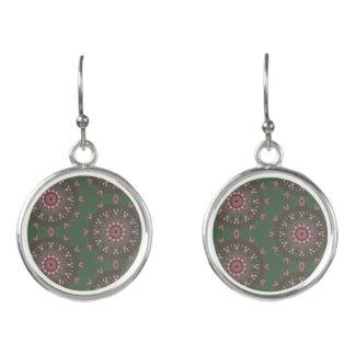 Ornate Boho Mandala Olive Earrings