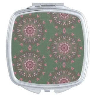 Ornate Boho Mandala Olive Makeup Mirrors
