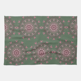 Ornate Boho Mandala Olive Tea Towel