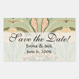 ornate bontanical garden art nouveau art rectangular sticker