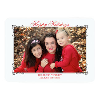 Ornate Bracket Horizontal Photo Holiday Card