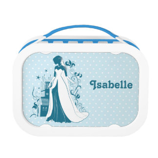 Ornate Bride Silhouette, flowers and gothic castle Lunch Box