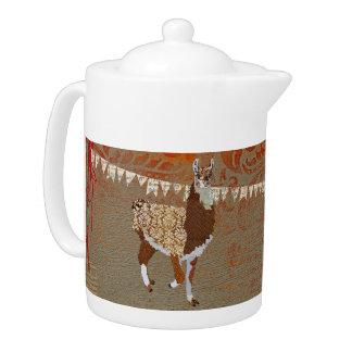 Ornate Bronze Llama Teapot