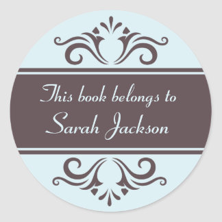 Ornate brown and pale blue book plate stickers