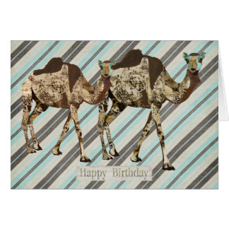 Ornate Camels Stripes Birthday  Card
