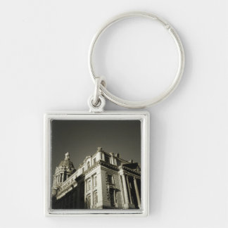Ornate Centre Street Building Silver-Colored Square Key Ring