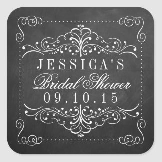 Ornate Chalkboard Bridal Shower Stickers