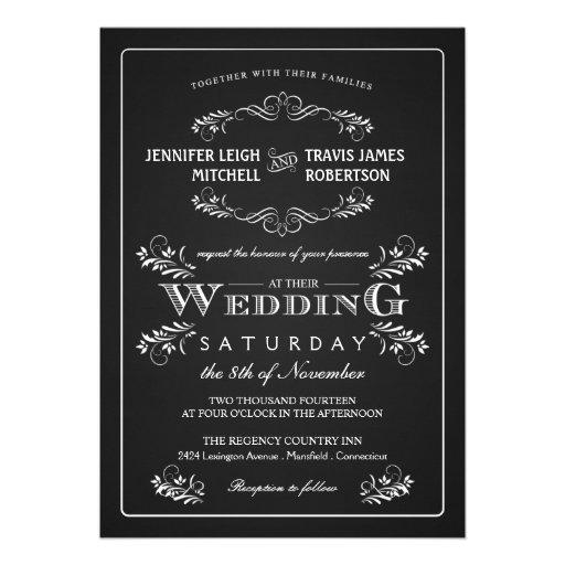 Ornate Chalkboard Vintage Wedding Invitations   Zazzle.